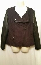 ALFANI Women's Faux Suede Lether Brown Moto Jacket Size Small S