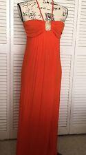 Women's 6 Degrees Long Maxi Strapless Empire Waist Dress, Size Small, Orange