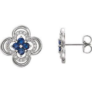 Platinum Genuine Blue Sapphire & 1/5 ct. tw. Diamond Clover Earrings