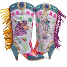 Irregular Choice 'Texas' (A) Pink / Lilac Stiletto Heel Cowboy Boots Shoes