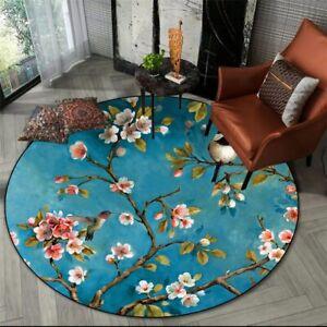 Flower & Bird Printed Carpet Mat Living Room Area Rug Bedroom Decor Chair Mat