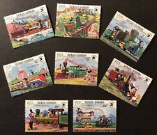 ANTIGUA DISNEY TRAIN STAMPS SET 8V 1989 MNH STEAM TRAIN PEPPERSASS MINNETONKA