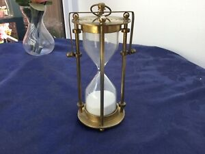 """VINTAGE BRASS EGG TIMER on reversible hanging ring - 6""""/15cms tall - pre owned"""