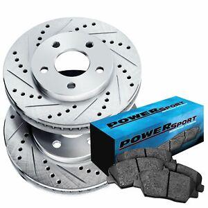 For 2004 Dodge Neon Front PowerSport Drill Slot Brake Rotors+Semi-Met Brake Pads