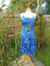 Desigual blue dress ethnographic Bare Back 100% cotton Size 44 Insects Butterfly