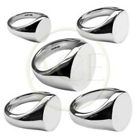 NEW 925 Solid Sterling Silver Oval Signet Rings UK Hallmarked Family Crest Rings