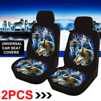 2pcs Car Front Seat Cover Cushion Wolf Printed Protector Sedan SUV Universal