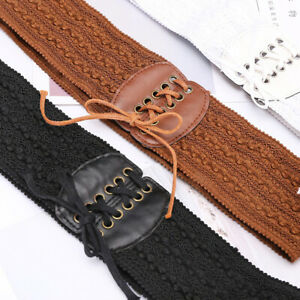 Stretchy Lace Up for Women Belt Wide Leather Cinch Elastic Waistband  Popular