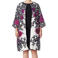 MARINA RINALDI Women's Black Tiziana Floral Long Jacket $1600 NWT