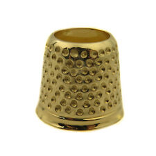 14k Solid Yellow Gold Finger Thimble Sewing Grip Shield For Pins And Needles