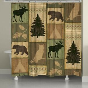 Laural Home Gone Camping Shower Curtain Beige/Green 70 X 70 Rustic Cabin Lodge