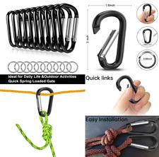 "10 Pack 3"" Aluminum Carabiner Clip Heavy Duty D Shape Screw Gate Spring Hook"