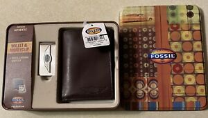NIB Fossil Authentic Genuine Brown Trifold Wallet & Money Clip With TIN BOX