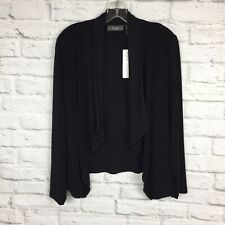 Chicos Travelers Easy Drape Jacket Black 2 Petite Black L/s New Open Sweater