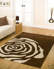 LARGE THICK BROWN CREAM BEIGE ROSE FLOWER RUG 160x220cm