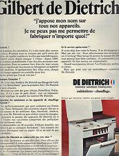 PUBLICITE  1968   DE DIETRICH   cuisinières chauffage