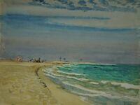 Karl Adser 1912-1995 Djerba Tunisia Camels and Horses at the Beach Mediterranean