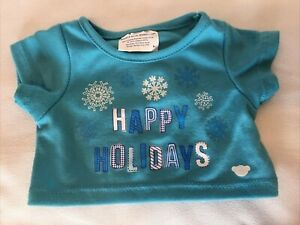 Build A Bear Blue Happy Holidays T Shirt Light Blue Short Sleeve BABW Preowned