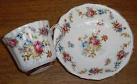 Old Royal Bone China England Cup & Saucer Set - Flowers - Saucer Is Worn