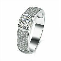 Damen Ring 925er Sterling Silber Zirkonia AAA 1,55 ct Pave Fassung  Rhodiniert