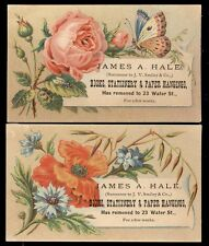1880's HAVERHILL MA  2 TRADE CARDS, JAMES A HALL BOOKS ETC at 23 WATER ST TC405