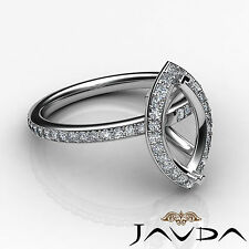 Diamond Engagement Marquise Shape Proposed Halo Ring 14k W Gold Semi Mount 1Ct