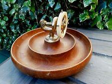 Vintage Retro Turned Teak Wood NUT BOWL & Brass SHIPS WHEEL NUTCRACKER 1940's
