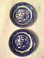 2 Antique Buffalo Pottery Semi-Vitreous Flow Blue Willow Butter Pats 1909, 1916