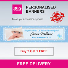 Personalised Christening Banner - Boy - Name and Photo - Free Delivery - D011