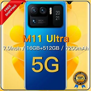 """New_Xiao_M11_Ultra 7.0""""_Smartphone_Global_Version_7200Mah""""Android 11""""Deca_Core"""