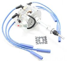 Clear HEI Distributor Coil Blue 8.5mm Spark Plug Wires 56-74 AMC Jeep 232 258 L6