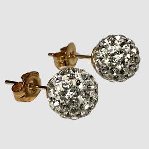 10k Yellow Gold Cubic Zirconia Ball Stud Earrings