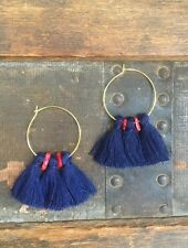 Handmade Summer Earrings Blue Tassels & Red Coral Beads Gold Hoop Fringe Boho