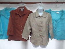 lot 4 silk linen embroid ruffle scoop neck career collar shirt jacket chicos  M