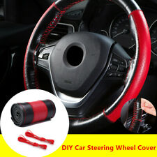 Black+Red Real Leather 38cm Sewing Car Steering Wheel Cover w/ Needle Thread Kit