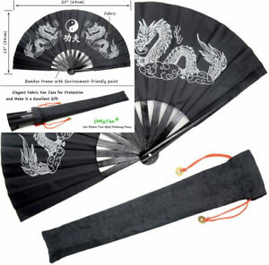 OMyTea Bamboo Large Rave Folding Hand Fan for Men/Women Black Double Dragons