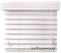 """CBC 2"""" Faux Wood Blinds White Custom Width 10""""-96"""" x Height 36""""-96"""" - FREE SHIP"""