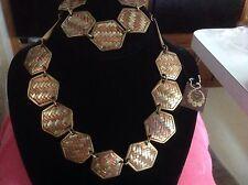 Vintage CAROL FOR EVA GRAHAM Brass Copper Cocker  Necklace Bracelet set lot