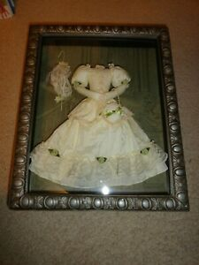 """Shadow Box Silver Wood Frame Victorian Fashion Ivory Lace Gown 16"""" x 13"""""""