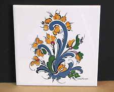 1984 Scandinavian Rosemal Design Tile Trivet Norwegian Cork Back LE 1258 FREE SH