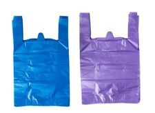 """Blue and Purple Plastic T-Shirt Shopping Bags Handles Large 11.5""""x6""""x21 Lot 200"""