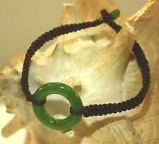 """25mm Carved Nephrite Jade Maori Hei-Porowhita Circle of Life Braided Bracelet 7"""""""