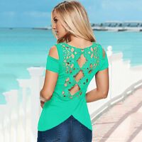 Womens Summer Short Sleeve T-shirt Blouse Casual Beach Scoop / V Neck Tee Tops