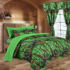 7 PC MIXED SET! DAY GLOW CAMO BIOHAZARD GREEN QUEEN SHEETS WITH KING COMFORTER!!