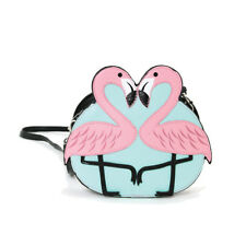 NEW 2 PINK+TEAL GREEN+BLACK VINYL KISSING FLAMINGO CROSSBODY,SHOULDER BAG