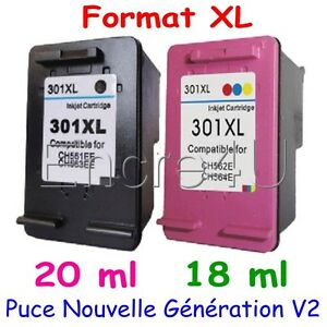 Cartouches d'encre compatibles HP301 HP 301 XL Noir / Couleurs x 1 ou Lot 2 3 4