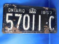 ONTARIO LICENSE PLATE 1957 57011 C  VINTAGE CANADA ANTIQUE CAR SHOP GARAGE SIGN
