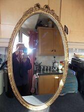 VINTAGE Specchio Ovale Oro con Bow TOP LEGNO E GESSO FRAME 44x76cm TUTTO ORIGINALE