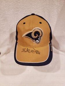 SWEET Kurt Warner Autographed St. Louis Rams Blue&Tan Cotton Hat, VERY NICE!