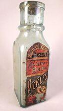 """Antique Aqua Pickle Bottle/Jar with Original Excelsior """"Home Made"""" Brand Label"""